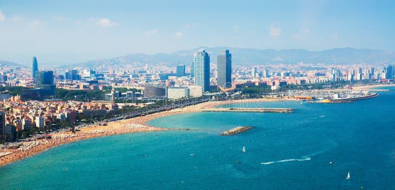 Luchtmening van Barcelona van overzees royalty-vrije stock afbeelding