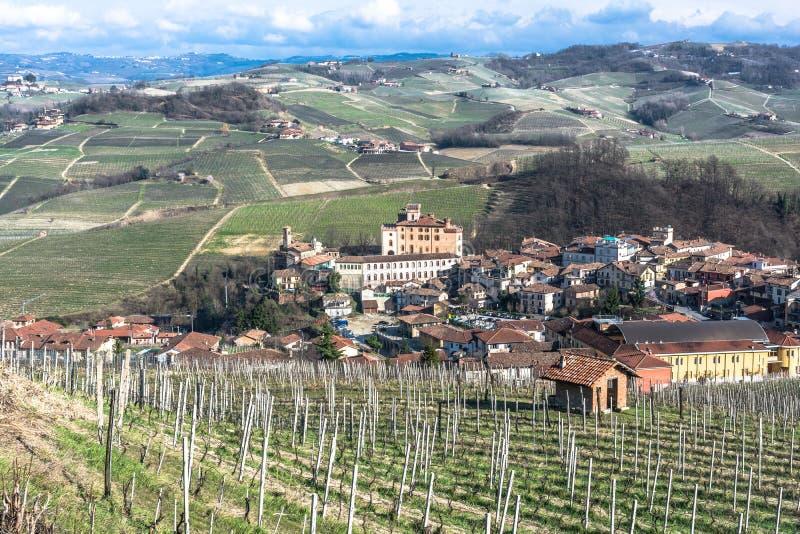 Luchtmening van Barolo en zijn wijngaarden, Langhe, Italië stock foto's