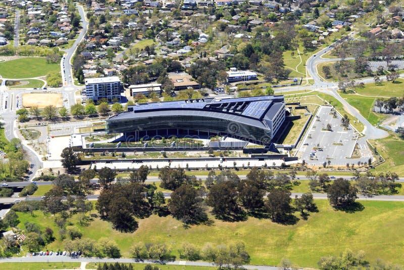 Luchtmening van Ben Chifley Building Canberra royalty-vrije stock fotografie