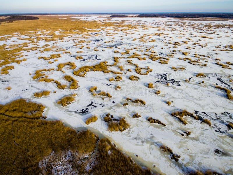 Luchtmening van bevroren bosmeer in de winter stock foto