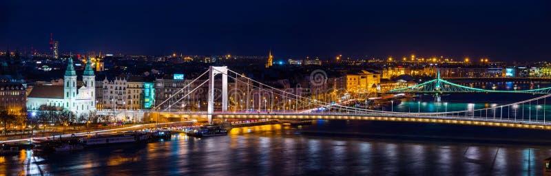 Luchtmening van Boedapest, Hongarije bij nacht Verlichte Vrijheidsbrug stock foto