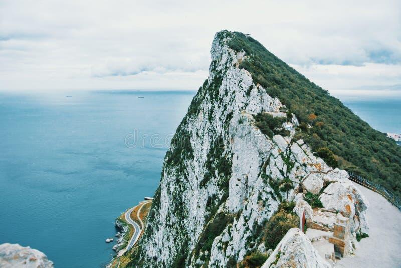 Luchtmening van bovenkant van de Rots van Gibraltar, Hogere Rots Natuurlijke Reserve stock foto's