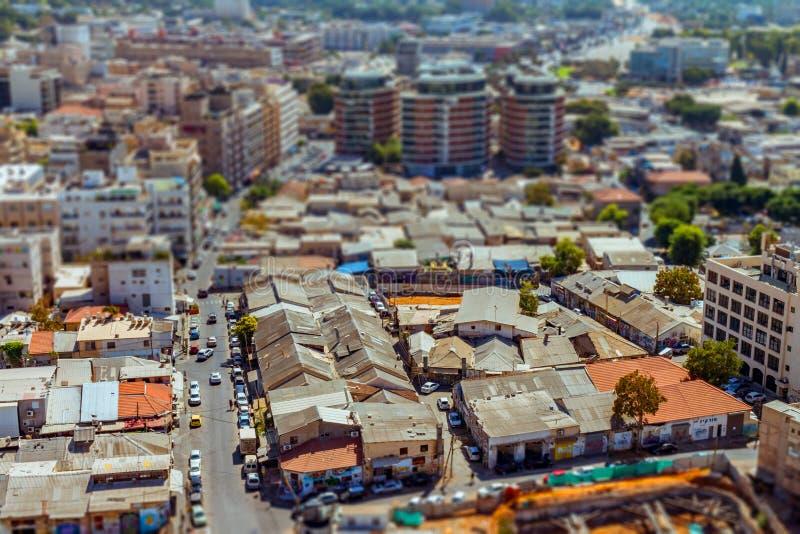 Luchtmening van buurten de Zuid- van Tel Aviv cityspace stock afbeeldingen
