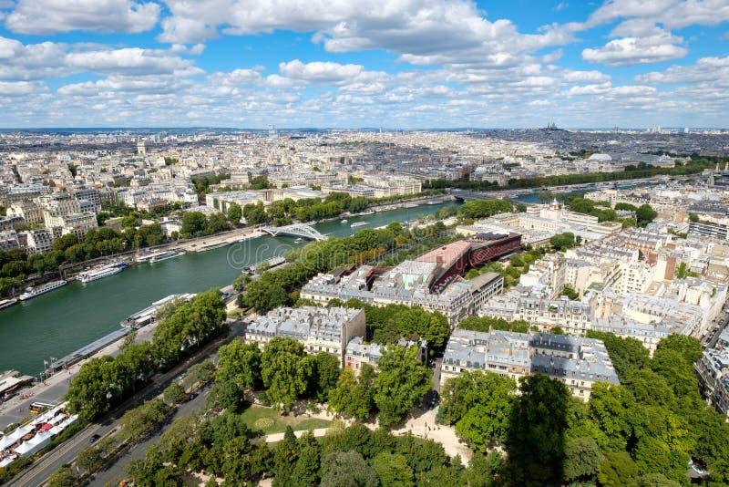 Luchtmening van centraal Parijs en de rivierzegen royalty-vrije stock afbeelding