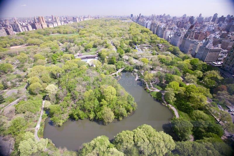 Luchtmening van Central Park in de lente dichtbij Columbus Circle de Stad in van Manhattan, New York, New York stock fotografie