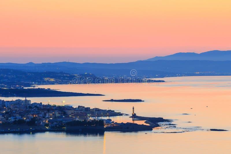 Luchtmening van Chania, Kreta stock foto