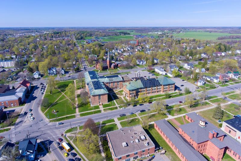 Luchtmening van Clarkson-Universiteit, Potsdam, NY, de V.S. royalty-vrije stock foto's