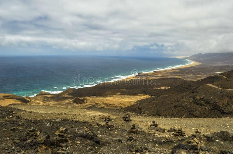 Luchtmening van Cofete-Strand in Fuerteventura, Canarische Eilanden royalty-vrije stock foto