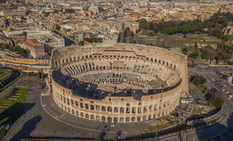 Luchtmening van Colosseum stock foto's