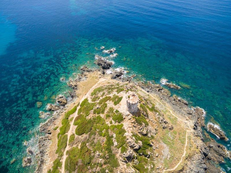Luchtmening van de bloeddorstige Eilanden van Sanguinaires in Corsica, Fra stock foto's