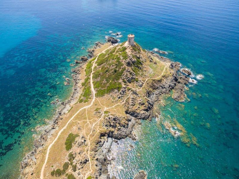 Luchtmening van de bloeddorstige Eilanden van Sanguinaires in Corsica, Fra royalty-vrije stock afbeeldingen