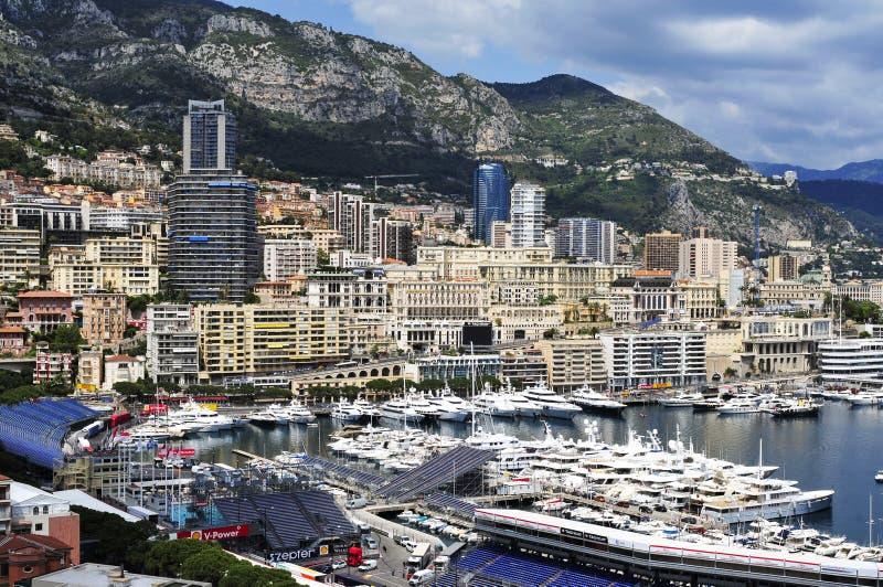 Luchtmening van de Haven Hercules in La Condamine en Monte Carlo stock afbeelding