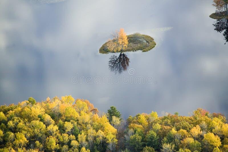 Luchtmening van de herfstboom op vijver met bezinning dichtbij Sanford, Maine stock foto