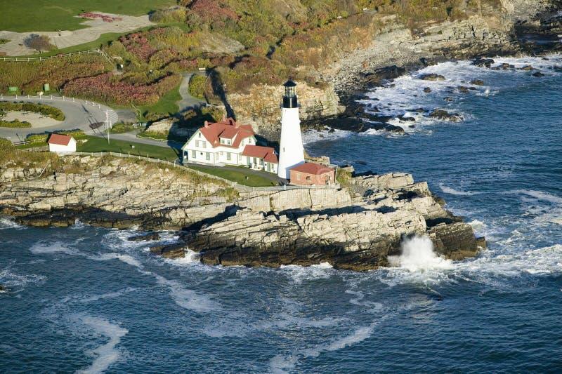 Luchtmening van de Hoofdvuurtoren van Portland, Kaap Elizabeth, Maine royalty-vrije stock afbeelding