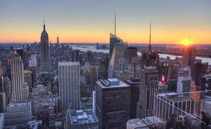 Luchtmening van de horizon van Manhattan, de Stadshorizon van New York royalty-vrije stock foto