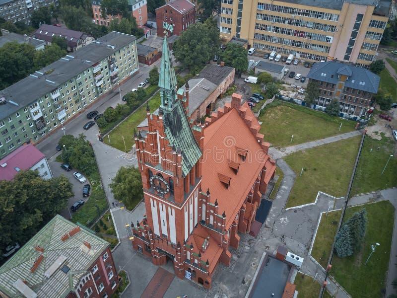 Luchtmening van de Kerk van de Heilige Familie in Kaliningrad stock afbeelding