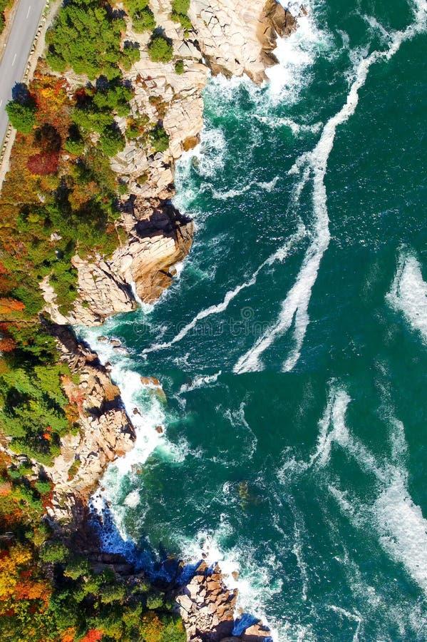 Luchtmening van de kleuren van de dalingsboom in New England De heldere herfst FO stock fotografie