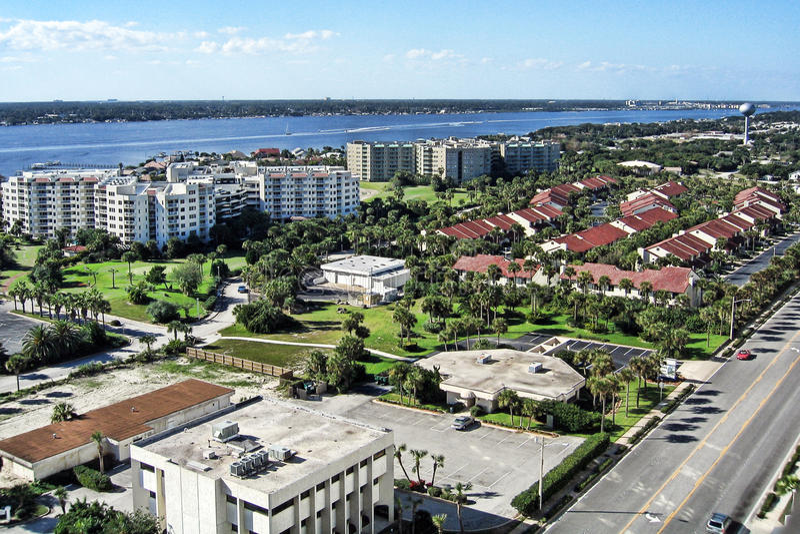 Luchtmening van de Kusten van Daytona Beach, Florida stock fotografie