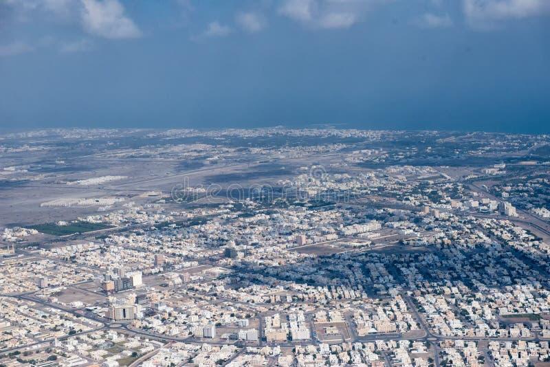 Luchtmening van de muscateldruif de Arabische stad landcape stock afbeelding