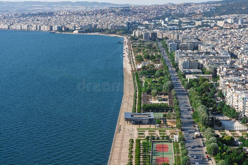 Luchtmening van de nieuwe Waterkant van Thessaloniki, Griekenland royalty-vrije stock foto's