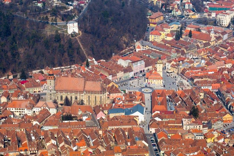 Luchtmening van de Oude Stad, Brasov, Roemenië royalty-vrije stock foto