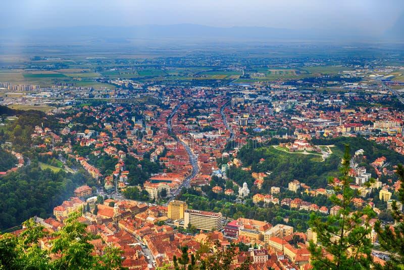 Luchtmening van de Oude Stad, Brasov, Transsylvanië royalty-vrije stock afbeeldingen