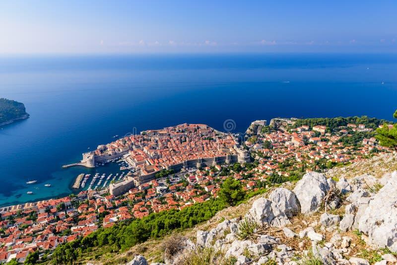Luchtmening van de oude stad van Dubrovnik royalty-vrije stock fotografie