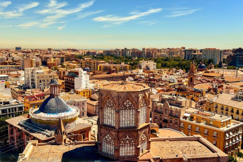 Luchtmening van de oude stad van Valencia, Spanje stock foto's