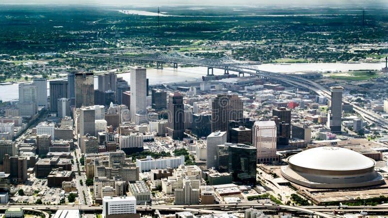 Luchtmening van de rivier van de Mississippi en Van de binnenstad, New Orleans, Louisiane royalty-vrije stock fotografie