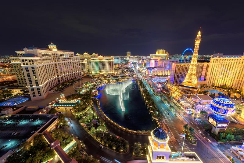 Luchtmening van de Strook van Las Vegas bij nacht royalty-vrije stock afbeelding