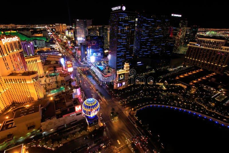 Luchtmening van de strook van Las Vagas bij nacht, Nevada royalty-vrije stock foto's