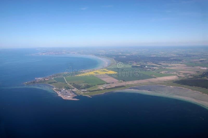 Luchtmening van de westkust van Bornholms stock fotografie