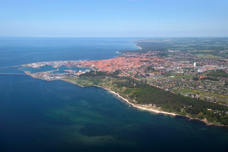 Luchtmening van de westkust van Bornholms royalty-vrije stock fotografie