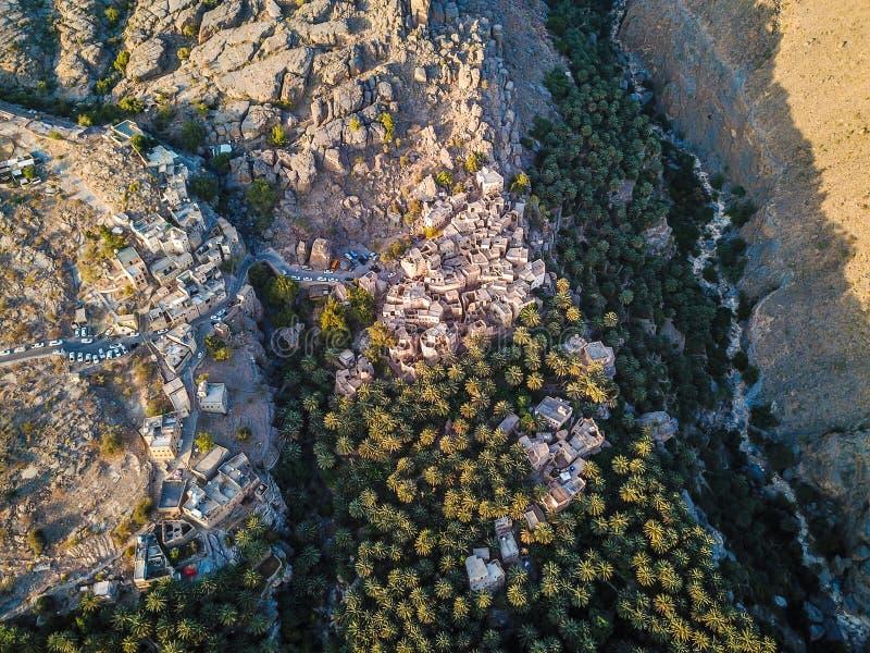 Luchtmening van een oud Omani dorp royalty-vrije stock foto's