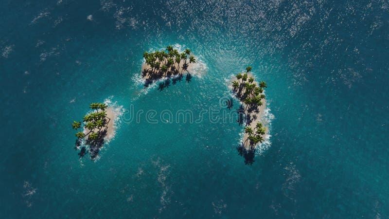Luchtmening van een paradijs tropische eilanden vector illustratie