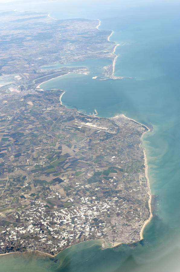 Luchtmening van eindschiereiland Iberica, Spanje stock foto's