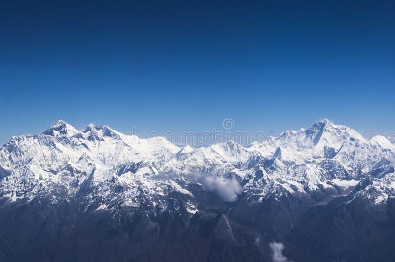 Luchtmening van Everest en Makalu royalty-vrije stock foto's