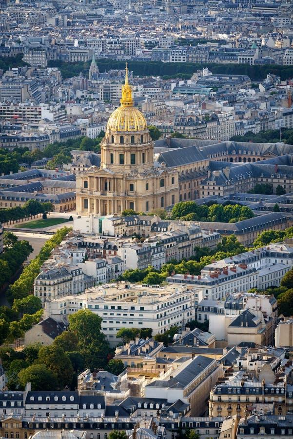 Luchtmening van Gouden Koepel van Les Invalides, Parijs, Frankrijk stock fotografie