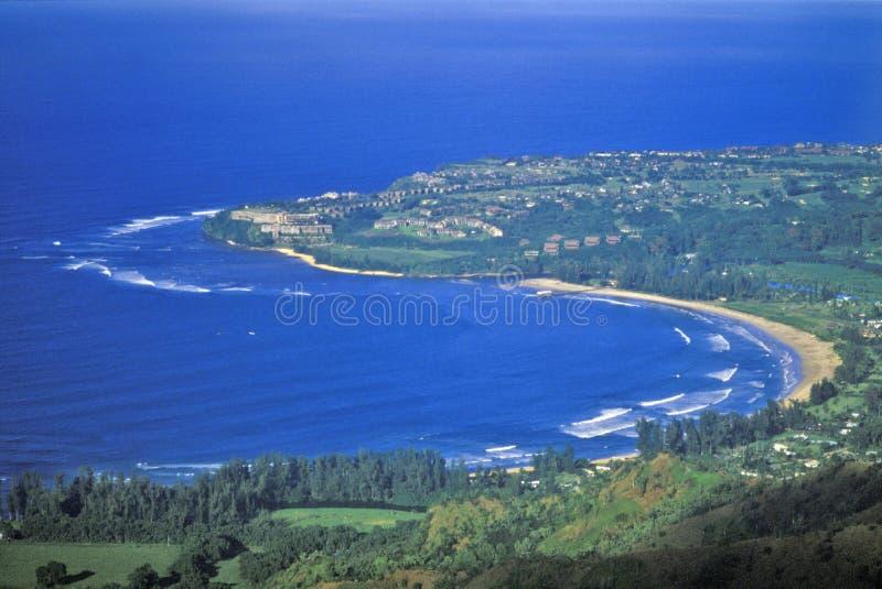 Luchtmening van Hanalei-Baai, Kauai, Hawaï royalty-vrije stock foto