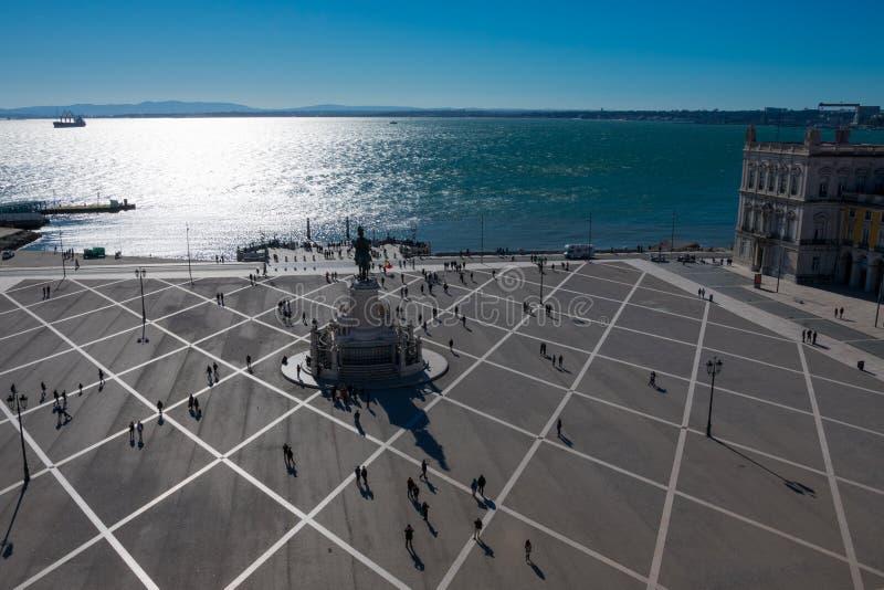 Luchtmening van Handel Square Praca do Comercio royalty-vrije stock foto's