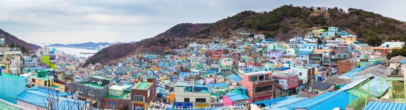 Luchtmening van hellingsstad, Zuid-Korea royalty-vrije stock afbeelding