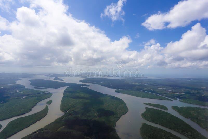 Luchtmening van het bos en de rivier royalty-vrije stock afbeeldingen