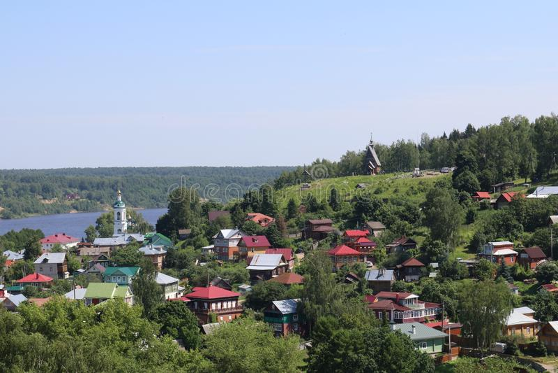 Luchtmening van het dorp stock afbeelding