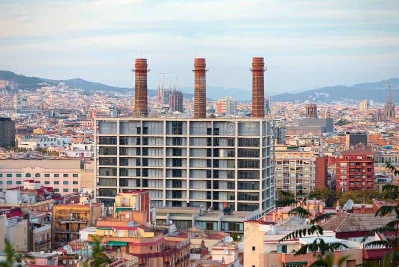 Luchtmening van het havengebied van Barcelona stock foto
