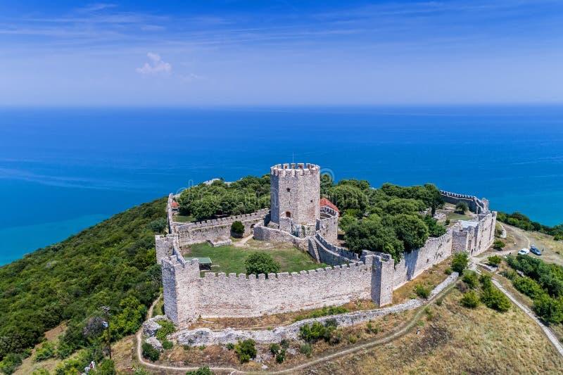 Luchtmening van het kasteel van Platamon royalty-vrije stock foto's