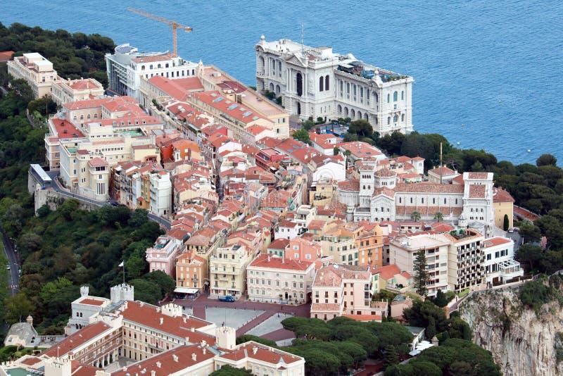 Luchtmening van het Oceanografische Museum van Monaco stock foto's