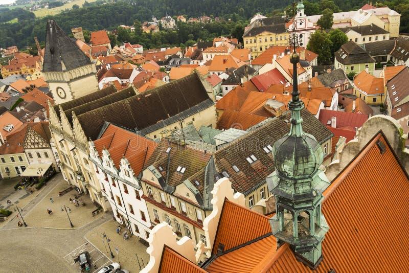 Luchtmening van het Oude Stadhuis in Tabor, Tsjechische Republiek stock afbeeldingen
