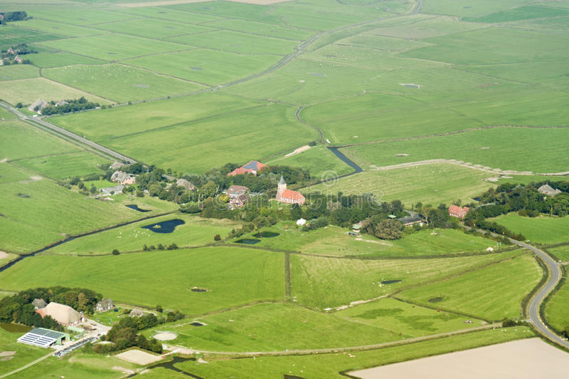 Luchtmening van het Overzeese van Sleeswijk-Holstein Wadden Nationale Park stock foto