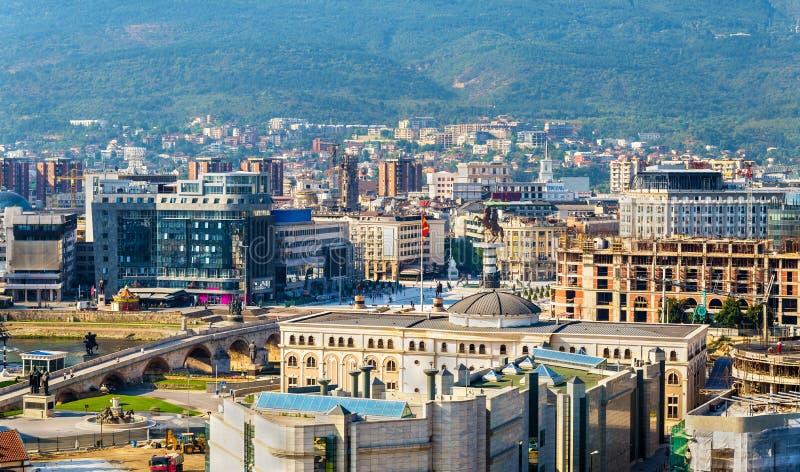 Luchtmening van het stadscentrum van Skopje royalty-vrije stock afbeeldingen