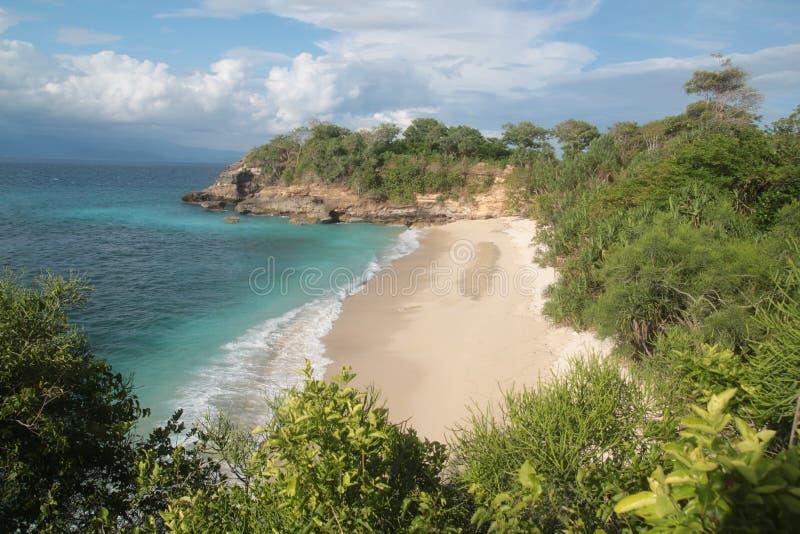 Luchtmening van het strand van Bali stock foto